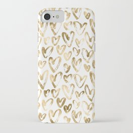 Gold Love Hearts Pattern on White iPhone Case