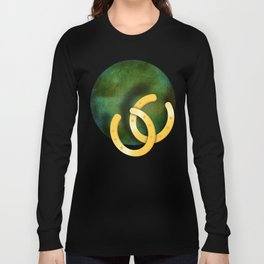 Lucky horseshoes on a textured green background Long Sleeve T-shirt