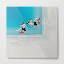 jumping over flamingoes Metal Print