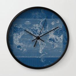 Dark Blue World Map Wall Clock