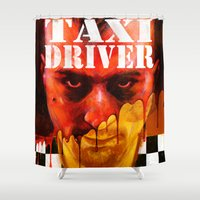 taxi driver Shower Curtains featuring Taxi Driver by ChrisNygaard