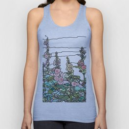 flowers and leaves on white background Unisex Tank Top
