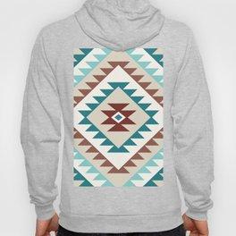 Aztec Motif Diamond Teals Creams Browns Hoody