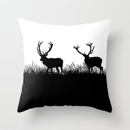 Black And White Deer Silhouette Throw Pillow