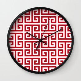 Pomegranate Red and White Greek Key Pattern Wall Clock