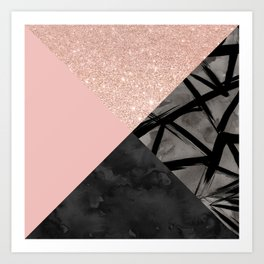 Modern pastel pink black strokes watercolor color block Art Print