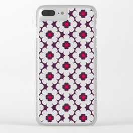 Flower Tiles Pattern Clear iPhone Case