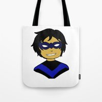 nightwing Tote Bags featuring Robin I - Nightwing by Tristan Sites