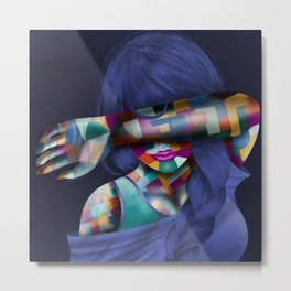 Hidden Mosaic Abstract Woman Metal Print