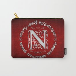 Joshua 24:15 - (Silver on Red) Monogram N Carry-All Pouch