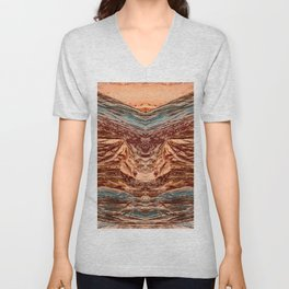 Red and Blue Tinted Terrain - 3 Unisex V-Neck
