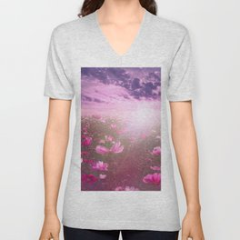 Wild Mexican Aster fields amid the purple sunset Unisex V-Neck