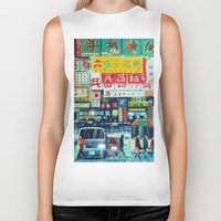 hong kong Biker Tanks featuring Hong Kong by Corrado Pizzi