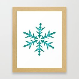 Minimalistic Aquamarine Snowflake Framed Art Print