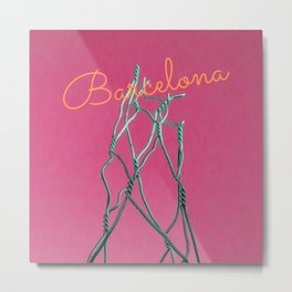 Barcelona Modern Photo Manipulation in Pink Metal Print
