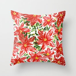 Pretty Poinsettias Throw Pillow