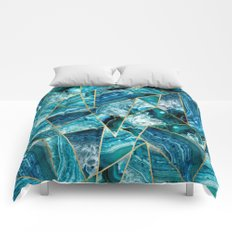 Turquoise Navy Blue Agate Black Gold Geometric Triangles Comforters