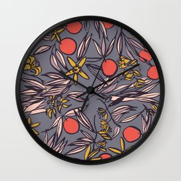 Orange Blossoms at Dusk on Gray Violet Wall Clock