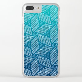 Japanese style wood carving pattern in blue Clear iPhone Case
