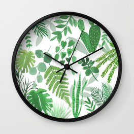 Houseplant Collage Wall Clock