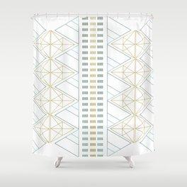 Gold Aqua Geometric Pattern 1.0 Shower Curtain