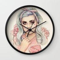 marina and the diamonds Wall Clocks featuring L.O.V.E | E.V.O.L by Helen Green