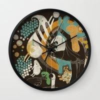 surrealism Wall Clocks featuring surrealism by Judit Varga