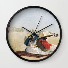 East Hampton Beach Long Island (1874) by WinslowHomer. Wall Clock