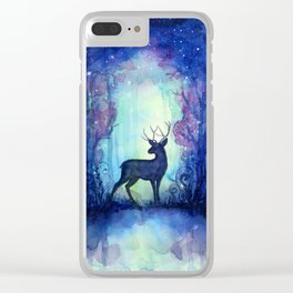 Reindeer in Magical Forest Clear iPhone Case