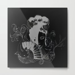 Geisha (Black) Metal Print