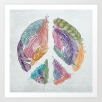 Feathers for Peace (Peace Sign) Art Print