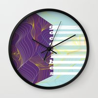 good vibes Wall Clocks featuring GOOD VIBES by Urban Artist