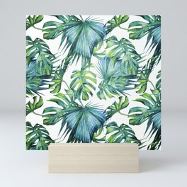 Blue Jungle Leaves, Monstera, Palm #society6 Mini Art Print