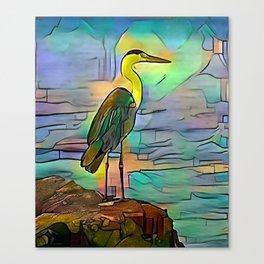 Grey heron on coast of ocean Canvas Print