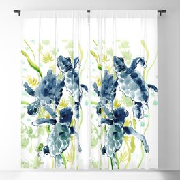 Sea Turtles , Indigo Blue Olive green Turtle art Blackout Curtain