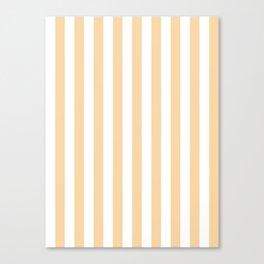 Narrow Vertical Stripes - White and Sunset Orange Canvas Print