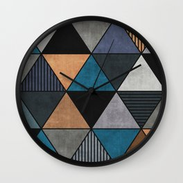 Colorful triangles 2 Wall Clock