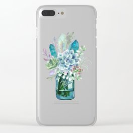 succulents, crystal, cactus, bouquet, jar, bunch of flowers, crystals, blue, succulent Clear iPhone Case