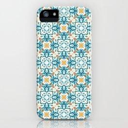 Longfellow blue orange and white geo squares iPhone Case