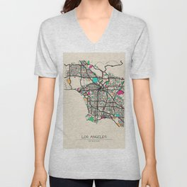 Colorful City Maps: Los Angeles, California Unisex V-Neck