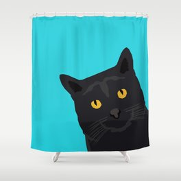 Black Cat peeking around the corner funny cat person gift for cat lady hipster black cat ironic art Shower Curtain