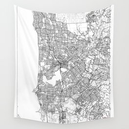 Perth Map White Wall Tapestry