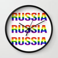 russia Wall Clocks featuring RUSSIA by Beauty Killer Art