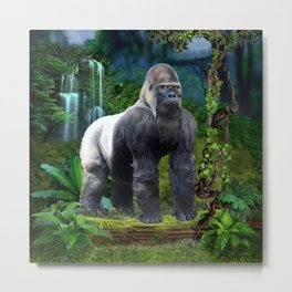 Silverback Gorilla Guardian of the Rainforest Metal Print