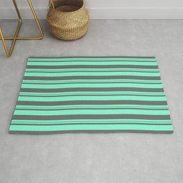 Aquamarine & Dim Gray Colored Lines Pattern Rug