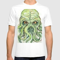 Cthulhu Green Tentacles White MEDIUM Mens Fitted Tee