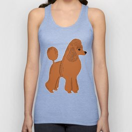 Red Apricot Poodle with Peach Pink & Hearts Unisex Tank Top