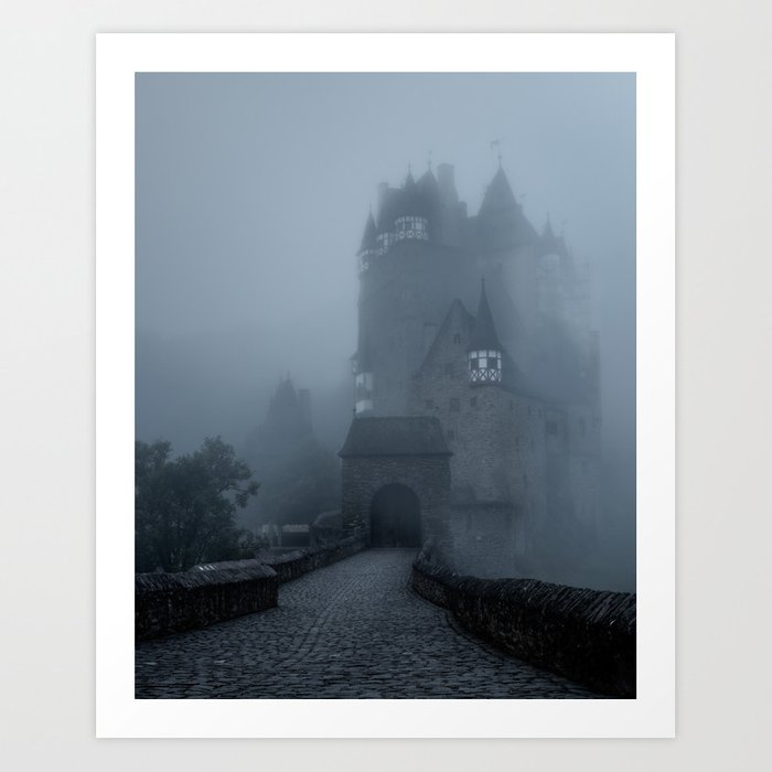 Eerie Castle Eltz in the mist Art Print