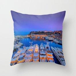 Monaco Yacht World Throw Pillow