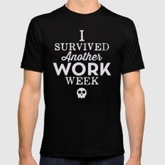 I Survived Another Work Week Black Mens Fitted Tee MEDIUM